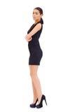 Sexig brunettmodell som poserar på vit Royaltyfri Foto