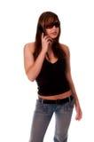sexig cellflickatelefon royaltyfri fotografi