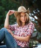 Sexig cowgirl. Royaltyfri Bild