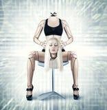 Sexig cyborgkvinna Arkivbilder