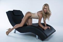 Sexig dam i underkläder Fotografering för Bildbyråer