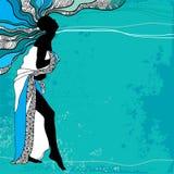 Sexig damkontur på en turkosbakgrund Stock Illustrationer