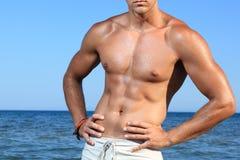 sexig fit man för caucasian Royaltyfri Fotografi