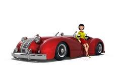 Sexig flicka bredvid en tappningbil Arkivfoton