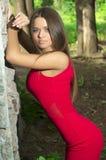 Sexig flicka i rött Arkivbilder