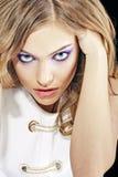 Sexig flicka med perfekt makeup Arkivfoto