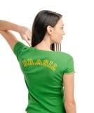 Sexig flicka som pekar Brasilien. Royaltyfri Bild