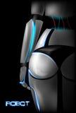 Sexig flickacyborg tillbaka sikt Del av kroppen bakdelar också vektor för coreldrawillustration royaltyfri illustrationer