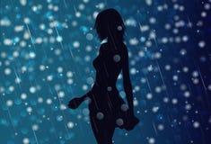 Sexig flickakontur i regnet, nattbakgrund royaltyfri illustrationer