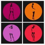 Sexig flickakonturuppsättning i kulöra cirklar Royaltyfri Fotografi