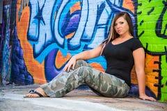 Sexig flickamodemodell med brunt hår fotografering för bildbyråer
