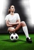 sexig fotboll för spelare arkivbild