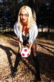 sexig fotboll för spelare Arkivfoto