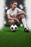 sexig fotbollsspelare royaltyfria foton