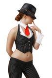 Sexig gangster i dragen hatt Royaltyfria Bilder