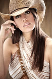 sexig härlig cowgirl Arkivbilder