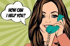 Sexig härlig kvinna som pratar på den retro telefonen Arkivbild