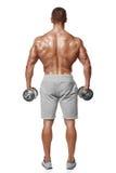 Sexig idrotts- man som visar den muskulösa kroppen med hantlar, bakre sikt, full längd som isoleras över vit bakgrund Starkt manl royaltyfri foto