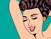 Sexig kåt kvinna i komisk stil, xxx illustration Arkivbild