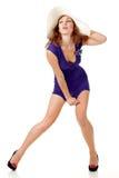 sexig klänningflickahatt Arkivfoto