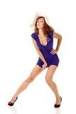 sexig klänningflickahatt Arkivbild