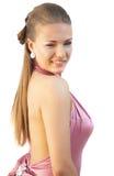 sexig klänningflickapink Royaltyfri Bild