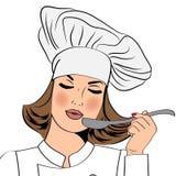 Sexig kockkvinna i enhetlig smak maten vektor illustrationer