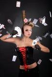 sexig kortspelarepoker Arkivbild