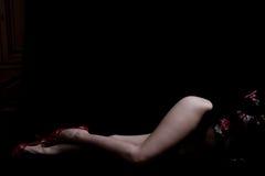 sexig kvinna för ben Arkivfoton
