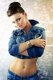 sexig kvinna för denimomslag Royaltyfri Foto