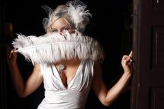sexig kvinna för fjäder Arkivfoto