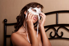 sexig kvinna för maskering Arkivbild