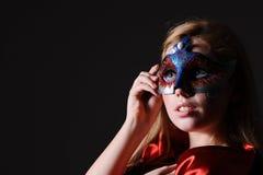 sexig kvinna för maskeringsdeltagare Arkivfoto