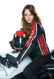 sexig kvinna för motorcykel Royaltyfri Foto
