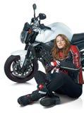 sexig kvinna för motorcykel Royaltyfria Bilder
