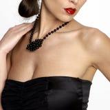 sexig kvinna för neckline s Arkivfoto