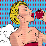 Sexig kvinna för popkonst med ett äpple Arkivbild