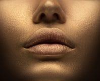 Sexig kvinna för skönhet med guld- hud Closeup f?r modekonstst?ende Modellera flickan med skinande guld- yrkesmässig makeup royaltyfri fotografi