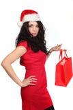 sexig kvinna för jul Arkivbilder