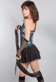 Sexig kvinna i paljettöverkant och Mini Skirt Arkivfoto
