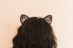 Sexig kvinna med Cat Ears Arkivbilder