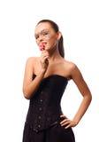 Sexig kvinna med godismaskeringen på framsida Arkivfoton