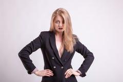 Sexig kvinna med ingen behå i modedräkt Fotografering för Bildbyråer