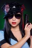 Sexig kvinnlig polis. Arkivbilder