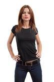 Sexig kvinnlig som poserar med den blanka svarta skjortan Royaltyfria Foton
