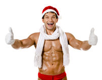 Sexig man Santa Claus Royaltyfria Foton