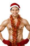 Sexig man Santa Claus Royaltyfria Bilder