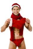 Sexig man Santa Claus Royaltyfri Fotografi