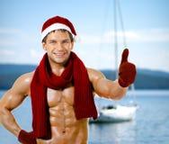 Sexig man Santa Claus Arkivbilder