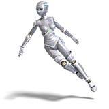 sexig metallisk robot för kvinnlig stock illustrationer